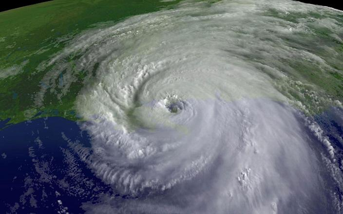 <p>A close up of the center of Hurricane Katrina's rotation is seen at 9:45am EST on Aug.29, 2005 over southeastern Louisiana. Katrina made landfall as a Category 4 strom with sustained winds in excess of 135 mph near Empire, Louisiana. (NOAA via Getty Images) </p>