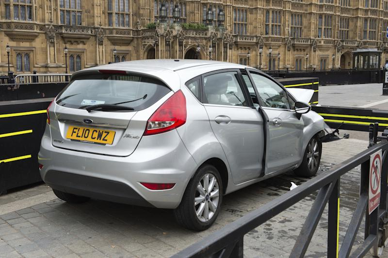 The silver Ford Fiesta driven by Salih Khater after it crashed outside the Houses of Parliament (Picture: PA)