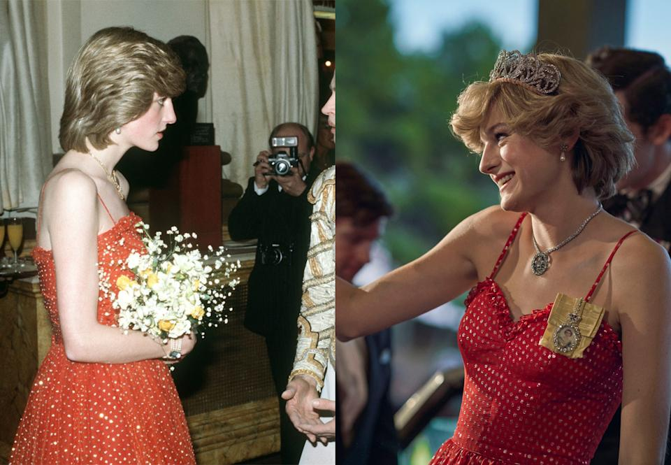 Diana's red polka dot dress both in real life and on-screen
