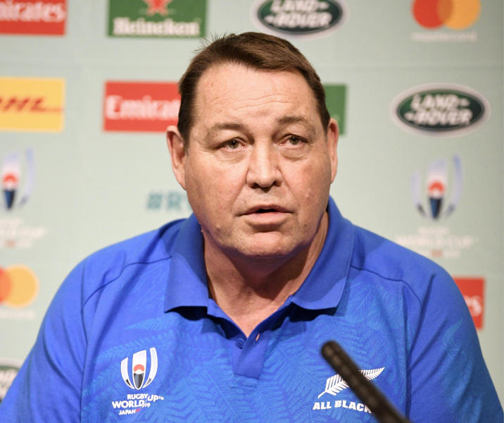 New Zealand's coach Steve Hansen speaks during a press conference to name his side ahead of the Rugby World Cup in Japan, in Tokyo Thursday, Sept.19, 2019. New Zealand will play against South Africa on Saturday, Sept. 21 in Yokohama. (Tsuyoshi Ueda/Kyodo News via AP)