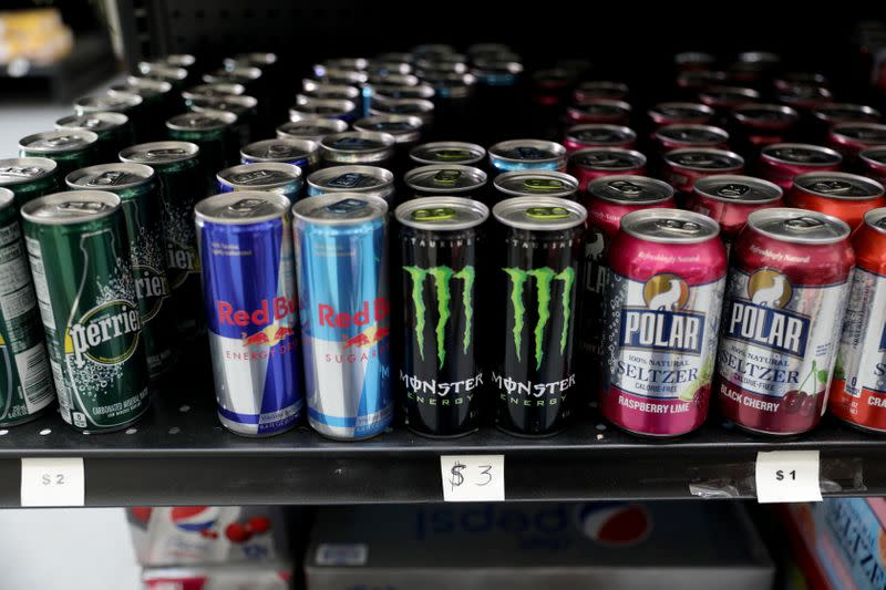 """Prices of energy drinks are seen in U.S. dollars at a """"bodegon"""" in Caracas"""