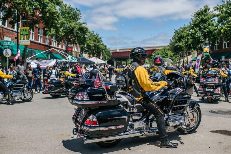 Members of the Buffalo Soldiers bike club participate in the Centennial Black Wall St. Heritage Parade, in the Greenwood district of Tulsa, during commemorations of the 100th anniversary of the Tulsa Race Massacre on May 29, 2021 in Tulsa, Oklahoma.