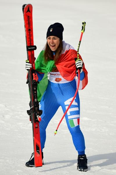 Italy's Sofia Goggia, celebrates after winning the women's downhill at the Pyeongchang 2018 Winter Olympic Games on Wednesday