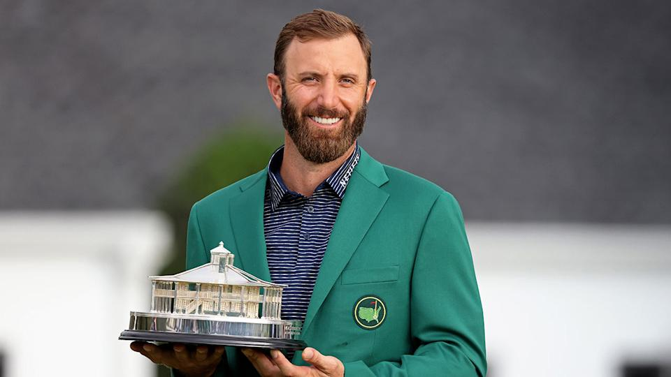 Seen here, 2020 Masters champion Dustin Johnson with his trophy for winning the major.