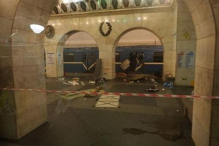 Train carriage damaged from explosion, is seen at Tekhnologicheskiy institut metro station in St. Petersburg