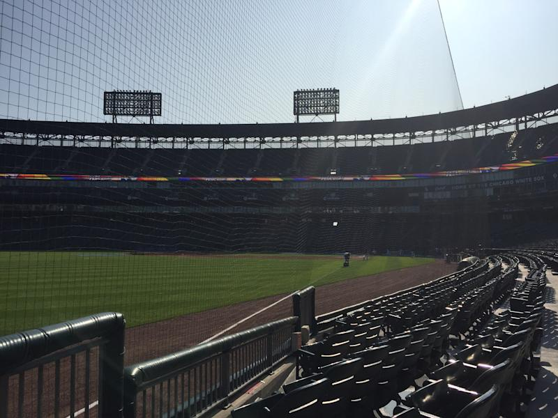 Guaranteed Rate Field is the first MLB stadium to extend the protective netting. (Henry Bushnell/Yahoo Sports)