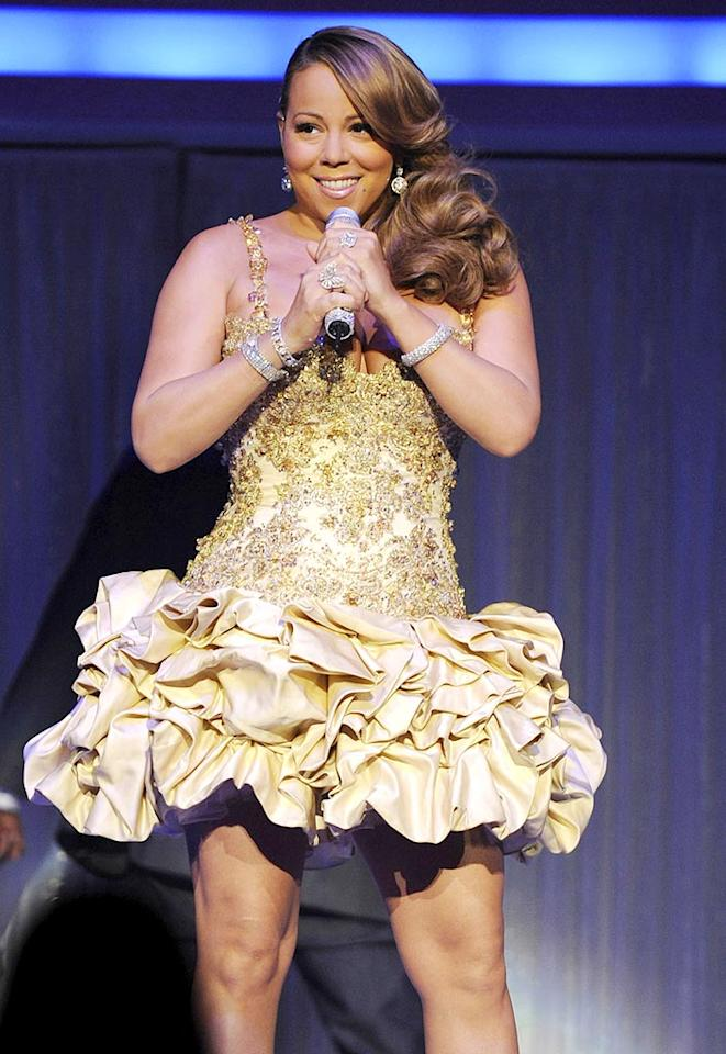 """Following her inebriated acceptance speech at the Palm Springs Film Fest just a few short weeks ago, we didn't think Mariah Carey could embarrass herself any further ... until we saw her don this disaster during a concert in Canada. George Pimentel/<a href=""""http://www.wireimage.com"""" target=""""new"""">WireImage.com</a> - February 9, 2010"""