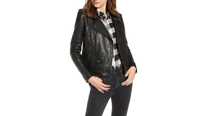 This transitional jacket is made with real leather--and it's on sale.