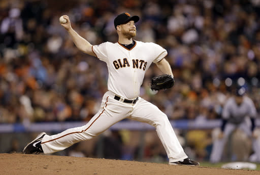 San Francisco Giants starter Chad Gaudin throws to the Milwaukee Brewers during the fifth inning of a baseball game on Monday, Aug. 5, 2013, in San Francisco. (AP Photo/Marcio Jose Sanchez)