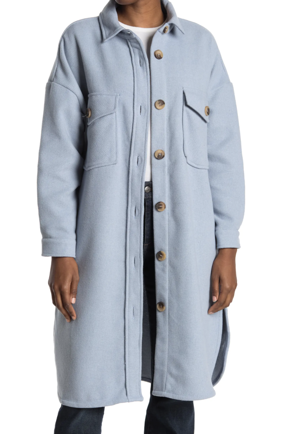 light blue long sleeve RDI Solid Button Front Long Shacket