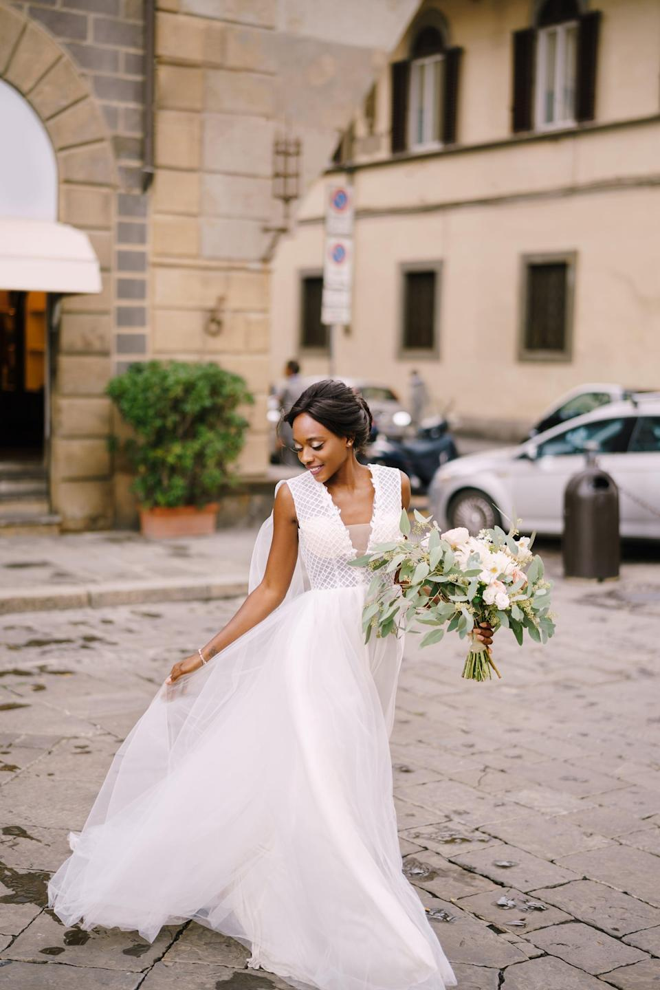 """<p>Professional models know just how to move to bring life to a picture. Give your <a class=""""link rapid-noclick-resp"""" href=""""https://www.popsugar.co.uk/tag/Wedding"""" rel=""""nofollow noopener"""" target=""""_blank"""" data-ylk=""""slk:wedding"""">wedding</a> day some of that same energy by swishing or moving your gown as you walk.</p>"""