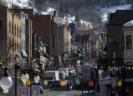 A general view shows Main Street bustling with activity before the opening day of the Sundance Film Festival in Park City, Utah