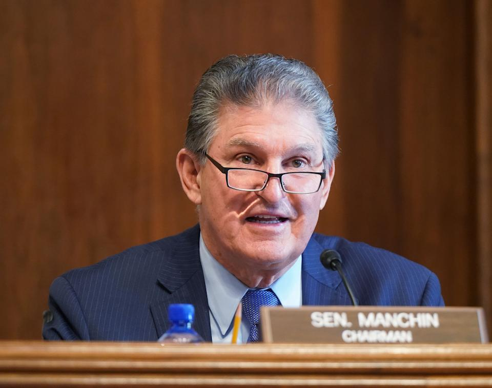 Sen. Joe Manchin, (D-W.Va.), chairman of the Senate Committee on Energy and Natural Resources, gives opening remarks at the confirmation hearing of Rep. Debra Haaland, (D-N.M.), President Joe Biden's nominee for secretary of the Interior on Feb. 24. (Photo: Leigh Vogel/Pool via Getty)