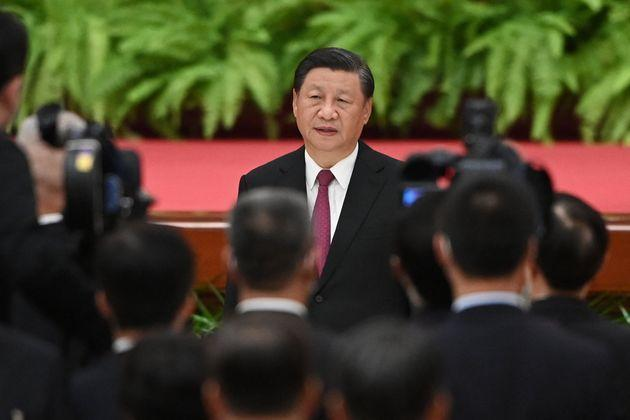 Chinese President Xi Jinping sings the national anthem during a reception at the Great Hall of the People on the eve of China's National Day in Beijing on September 30, 2021. (Photo by GREG BAKER / AFP) (Photo by GREG BAKER/AFP via Getty Images) (Photo: GREG BAKER via Getty Images)