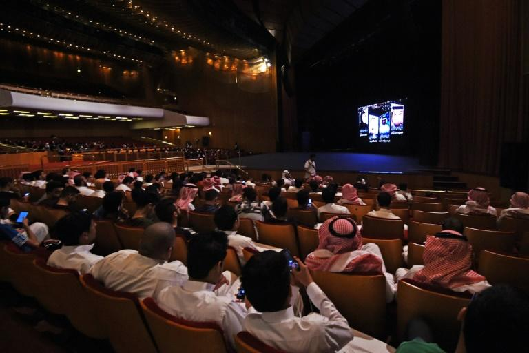 "Saudis attend the ""Short Film Competition 2"" festival at King Fahad Culture Center in Riyadh"