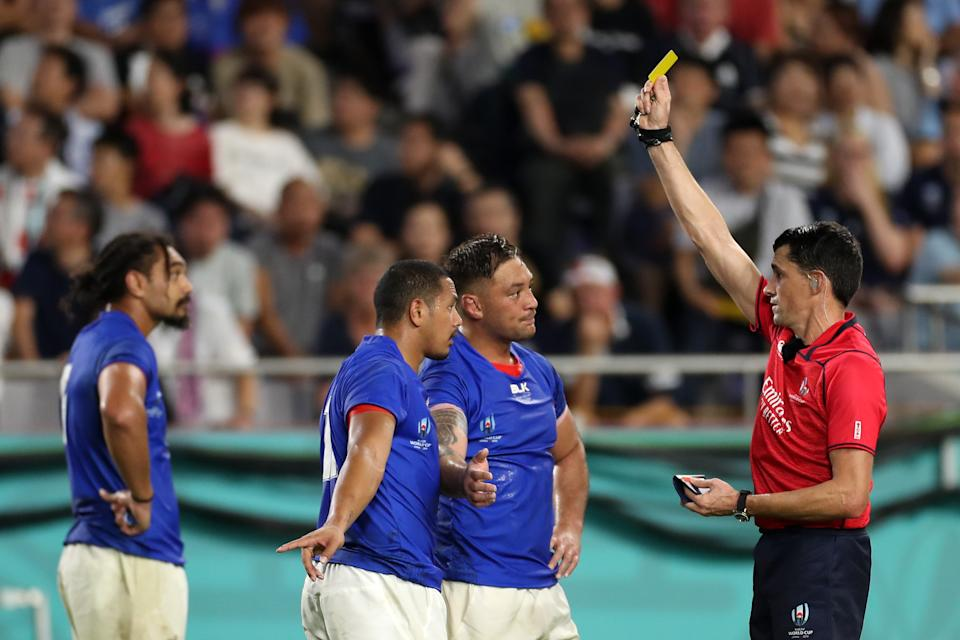 KOBE, JAPAN - SEPTEMBER 30: Ed Fidow of Samoa is shown a yellow card by referee Pascal Gauzere during the Rugby World Cup 2019 Group A game between Scotland and Samoa at Kobe Misaki Stadium on September 30, 2019 in Kobe, Hyogo, Japan. (Photo by Mike Hewitt/Getty Images)