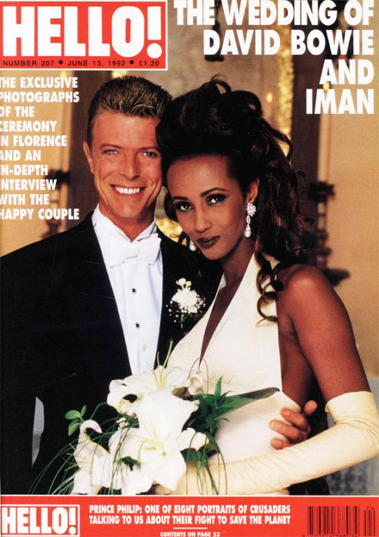 Iman and David Bowie on the cover of 'Hello' magazine.