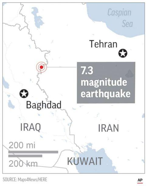 PHOTO: A map shows the epicenter of the Nov. 12, 2017 earthquake that struck Iran and Iraq. (AP Photo )