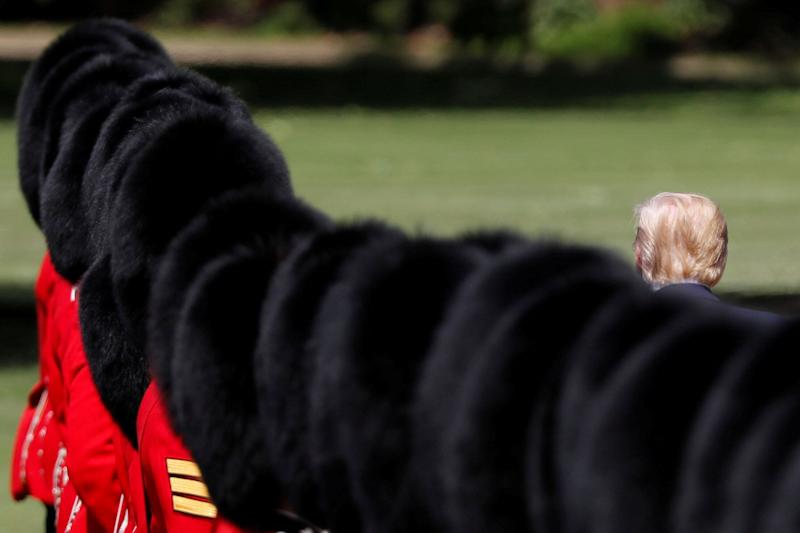 U.S. President Donald Trump inspects an honour guard during a welcome ceremony in Buckingham Palace, in London, Britain, June 3, 2019. (Photo: Carlos Barria/Reuters)