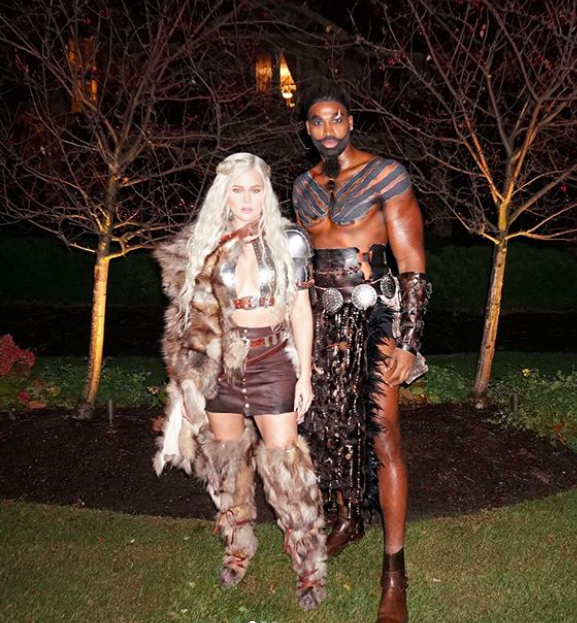 <p>Here is the full look at the couple's award-winning costume — including a hint of Khloé's tummy. (Photo: Khloé Kardashian via Instagram) </p>