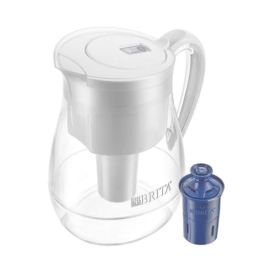 """<p><strong>Brita</strong></p><p>amazon.com</p><p><strong>$34.99</strong></p><p><a href=""""https://www.amazon.com/dp/B07H8XRWCR?tag=syn-yahoo-20&ascsubtag=%5Bartid%7C10051.g.36317445%5Bsrc%7Cyahoo-us"""" rel=""""nofollow noopener"""" target=""""_blank"""" data-ylk=""""slk:Shop Now"""" class=""""link rapid-noclick-resp"""">Shop Now</a></p><p>If bae is always dehydrated, get her a Brita to make tap water taste better. This model has the capacity to fill 10 cups of water.</p>"""