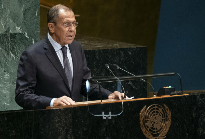 Russian Foreign Minister Sergey Lavrov addresses the 74th session of the United Nations General Assembly, Friday, Sept. 27, 2019, at the United Nations headquarters. (AP Photo/Craig Ruttle)
