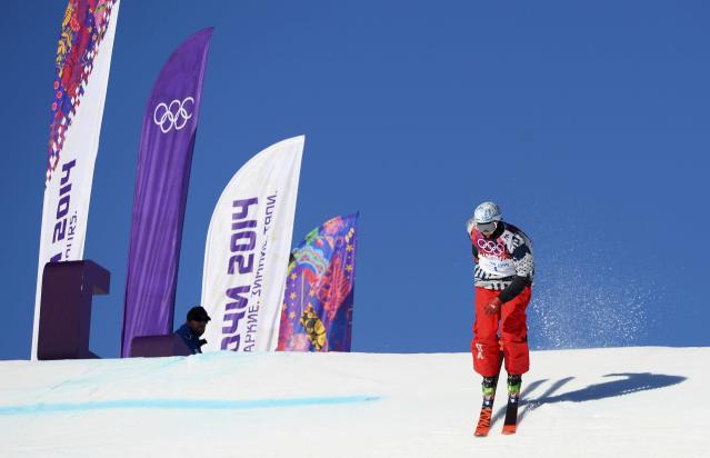 Nicholas Goepper of the U.S. competes during the men's freestyle skiing slopestyle qualification round at the 2014 Sochi Winter Olympic Games in Rosa Khutor February 13, 2014. REUTERS/Dylan Martinez (RUSSIA - Tags: SPORT OLYMPICS SPORT SKIING)