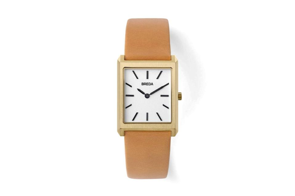 """$100, Breda. <a href=""""https://www.bredawatch.com/collections/mens-new/products/breda-virgil-1736a-gold-brown-leather-watch?variant=21457205755984"""" rel=""""nofollow noopener"""" target=""""_blank"""" data-ylk=""""slk:Get it now!"""" class=""""link rapid-noclick-resp"""">Get it now!</a>"""