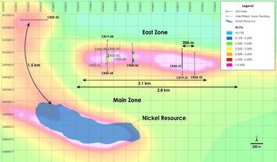 Figure 2 - Plan View of East Zone Nickel - Drilling Results overlain on total field magnetic intensity, Crawford Nickel-Cobalt Sulphide Project, Ontario. (CNW Group/Canada Nickel Company Inc.)