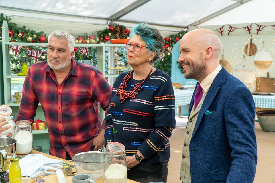 Paul, Prue and Tom in the Bake Off Christmas Special (C4)