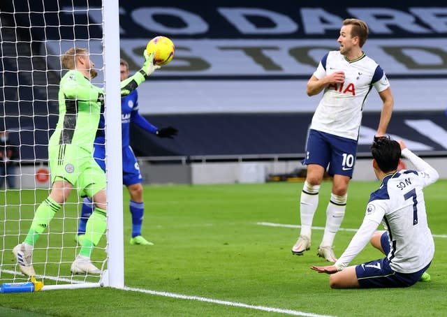 Kasper Schmeichel (left) made a brilliant a save to deny Son Heung-mi