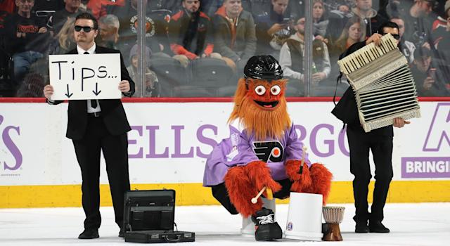 Since breaking into the league at the beginning of last season, Gritty has forced the rest of the NHL's mascots to step their games up. (Len Redkoles/NHLI via Getty Images)