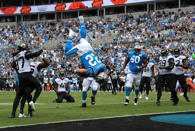 Christian McCaffrey was flipped into the end zone last Sunday. (Getty Images)