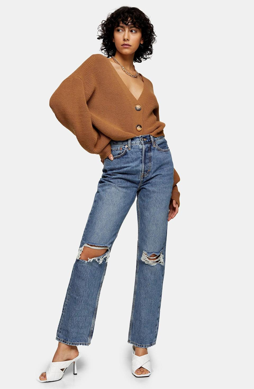 <p>You can style these <span>Topshop Ripped Dad Jeans</span> ($80) so many ways. The strategic rips make them so cute.</p>