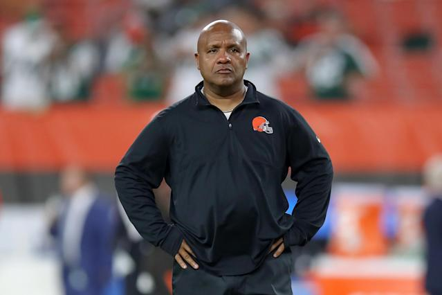 Browns coach Hue Jackson doesn't want the thrill of winning two games out of five to go to his players' heads. (Photo by Frank Jansky/Icon Sportswire via Getty Images)