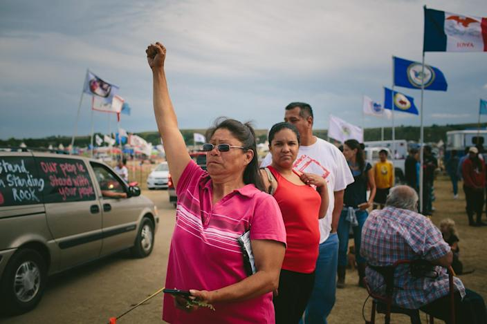 "<p>Yvette Gray of Standing Rock cheers as more protesters arrive at the camp near the Standing Rock reservation near Bismarck, N. D., on Sept. 6, 2016. ""I'm here to fight for our water and our rights and for our people and my grandchildren,"" Gray said. (Photo: Alyssa Schukar for Yahoo News) </p>"