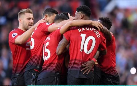MANCHESTER, ENGLAND - AUGUST 10: Paul Pogba of Manchester United (hidden) celebrates with team mates after scoring his team's first goal during the Premier League match between Manchester United and Leicester City at Old Trafford on August 10, 2018 in Manchester, United Kingdom - Credit: Getty Images