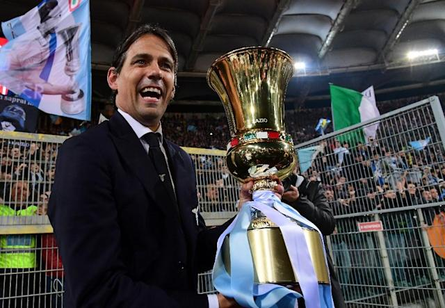 Coach Simone Inzaghi won three Coppa Italia trophies with Lazio as a player. (AFP Photo/Vincenzo PINTO )