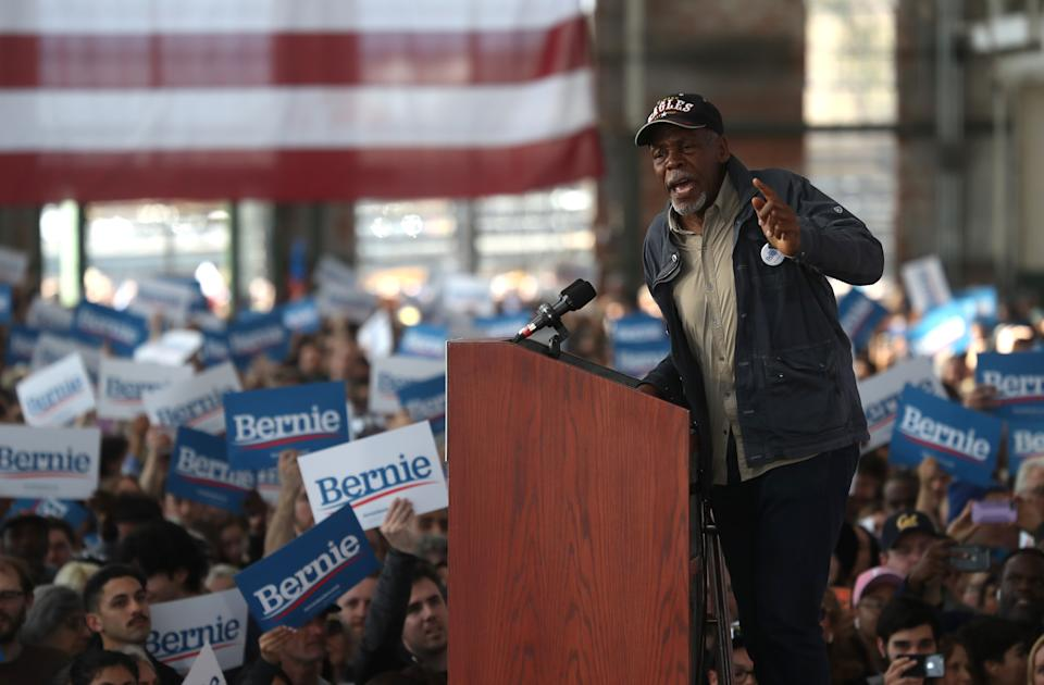 Danny Glover speaks before the start of a campaign event with Democratic presidential candidate Sen. Bernie Sanders on February 17, 2020. (Photo by Justin Sullivan/Getty Images)
