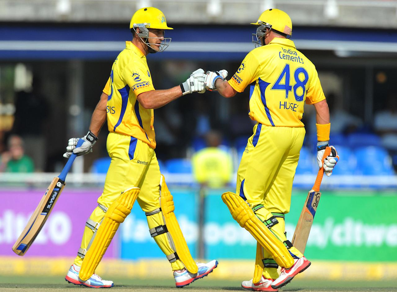 JOHANNESBURG, SOUTH AFRICA - OCTOBER 14:  Faf du Plessis and Mike Hussey of CSK during the Champions League Twenty20 match between Chennai Super Kings and Sydney Sixers at Bidvest Wanderers Stadium on October 14, 2012 in Johannesburg, South Africa. (Photo by Duif du Toit / Gallo Images/Getty Images)