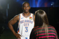 """""""Yeah, no, I totally love being on the Thunder. Love, love, love it. Big Thunder guy."""" — Chris Paul, no doubt"""