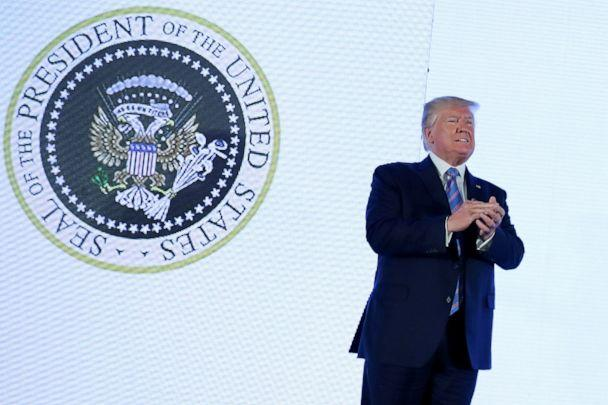 PHOTO: U.S. President Donald Trump takes the stage next to an altered presidential seal prior to a speech at Turning Point USA's Teen Student Action Summit in Washington, July 23, 2019. (Jonathan Ernst/Reuters)