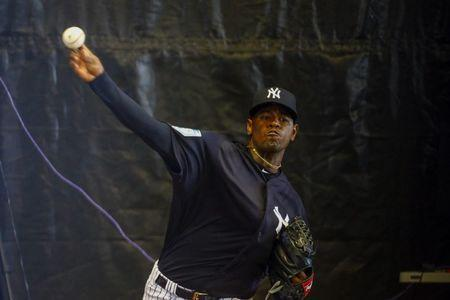 FILE PHOTO: Feb 17, 2019; Tampa, FL, USA; New York Yankees starting pitcher Luis Severino (40) pitches during spring training at George M. Steinbrenner Field. Mandatory Credit: Butch Dill-USA TODAY Sports