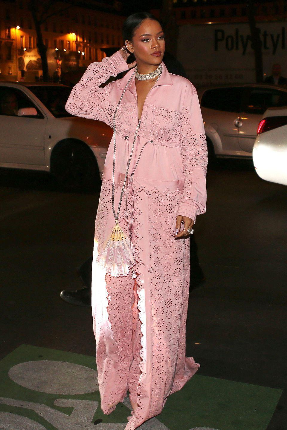 <p>In head-to-toe Fenty x Puma by Rihanna after her fashion show in Paris.</p>