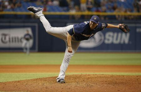 FILE PHOTO: Aug 5, 2017; St. Petersburg, FL, USA; Former Milwaukee Brewers relief pitcher Anthony Swarzak (37) throws a pitch during the ninth inning against the Tampa Bay Rays at Tropicana Field. Kim Klement-USA TODAY Sports