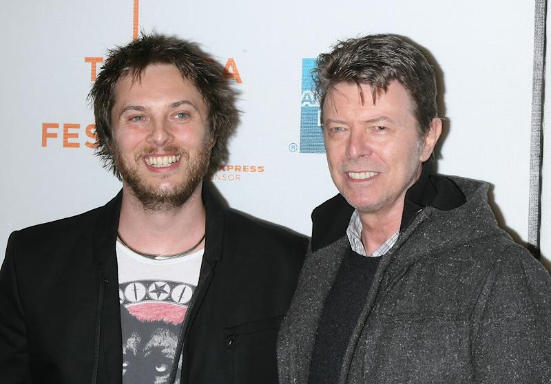 "NEW YORK - APRIL 30: Director Duncan Jones and Musician David Bowie attend the premiere of ""Moon"" during the 8th Annual Tribeca Film Festival at BMCC Tribeca Performing Arts Center on April 30, 2009 in New York City. (Photo by Jim Spellman/WireImage)"