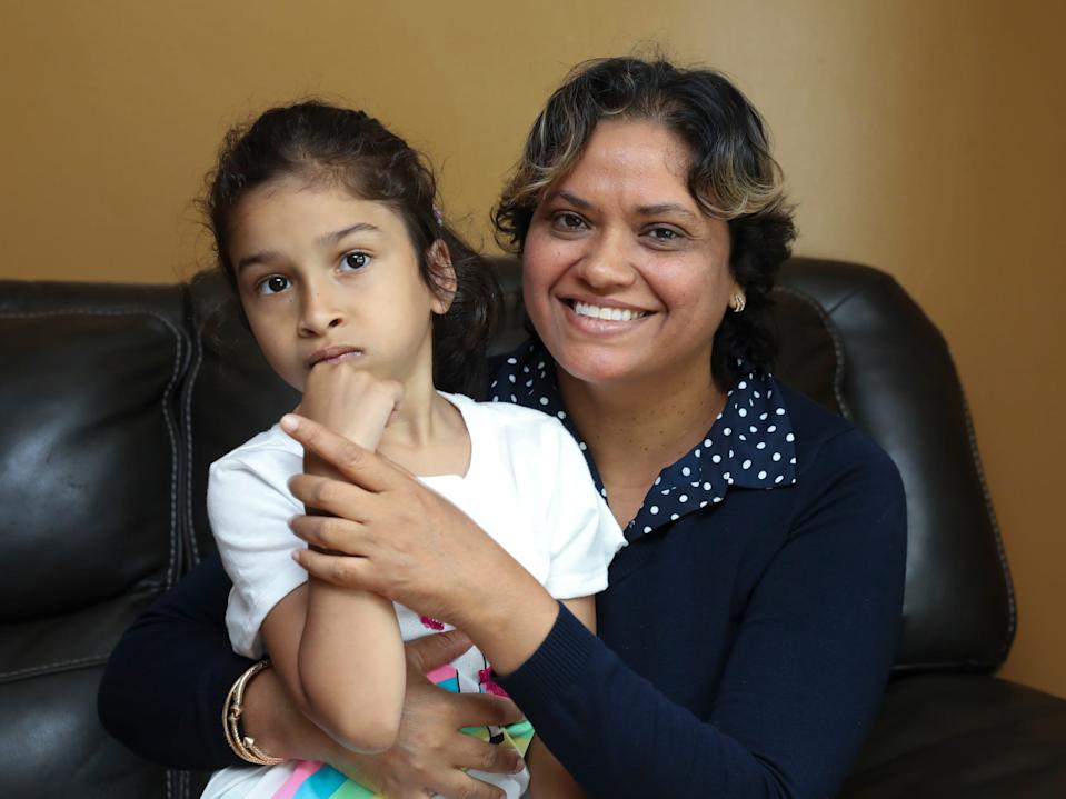 Shelly Guzman and her daughter Faith, 7, photographed in their Washingtonville home on Friday, June 5, 2020.  Faith attends the Jesse Kaplan School in West Nyack, Shelly has been taking care of all of Faith's needs since her school closed due to COVID-19 pandemic.