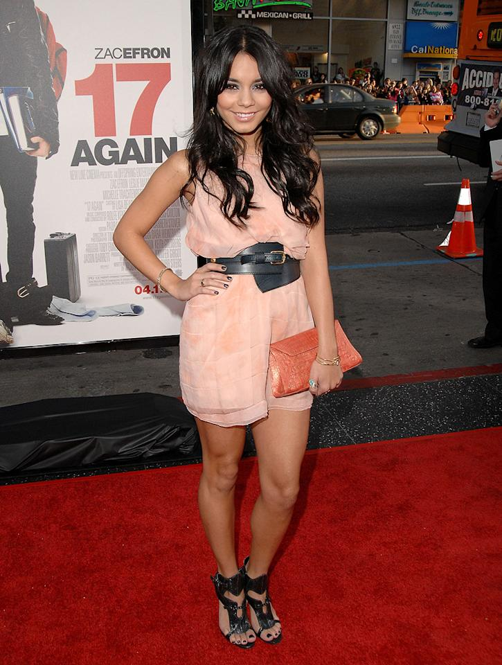 "Vanessa Hudgens  ""17 Again"" Los Angeles premiere  Grade: B+    Zac's main squeeze Vanessa Hudgens turned heads in this flirty Zac Posen frock and leather accessories. Her man better keep a watchful eye on her!"