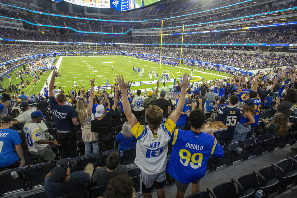 Fans cheering at Rams game.