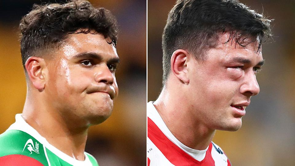 Seen here, Latrell Mitchell after his high shot on Roosters rival Joey Manu.